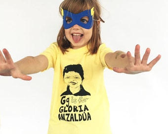 Feminist Kids Shirt: G is for Gloria Anzaldua Chicana Kids Shirt