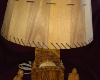 SALE!   Table Lamp, St Jean Port Joli, Quebec, Canada, Handmade, Carved Wood, signed Gerard Fortin