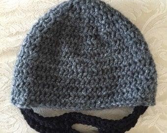 Beard Hat, Crochet beard hat, child beard hat, baby beard hat, adult beard hat