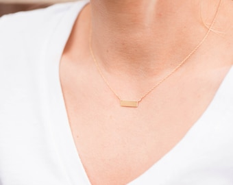 Engraveable Gold Bar Necklace // Engraved Bar Necklace // Delicate Gold Bar Necklace // Dash Bar Necklace // Gold Bar Jewelry