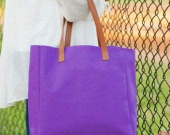 Monogrammed Purple Wholesale Boutique Tailgate Tote