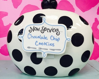 Monogrammed Happy Everything Black and White Jar