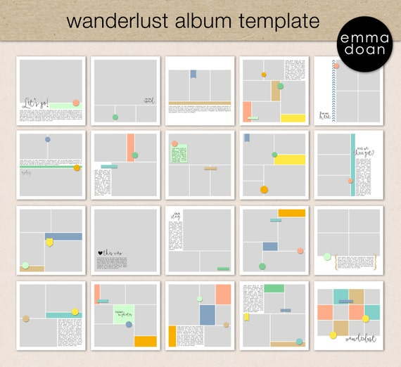 Wanderlust album template 12x12 travel album 12x12 photobook wanderlust album template 12x12 travel album 12x12 photobook template digital scrapbook template photo collage album template from emmadoan on etsy pronofoot35fo Gallery