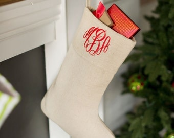 Personalized Holiday Juco Stocking * Monogrammed Christmas Stocking * Custom Embroidered Stockings * Perfect for Gifts