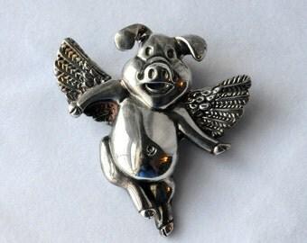 Vintage Silver Flying Pig Brooch, Pig Pin, Pig with Wings, Vintage Brooch, 233