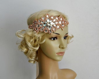 Glamour Rose Gold Rhinestone flapper Gatsby Headband, Wedding Headband, Crystal Headband Headpiece, Bridal Headpiece, 1920s Flapper headband