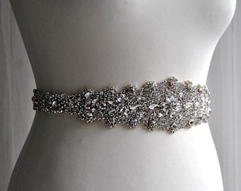 Long Crystal Luxury Bridal Sash Belt, Wedding Dress Sash Belt, Rhinestone Sash Bridal Belt, All The Way Around Bridal Belt - Josephine