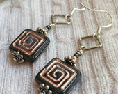 Grey & Copper Czech Glass Square Earrings: Geometric Minimalist Jewelry Faceted Fire Polished Crystal Handmade, Sterling Silver Gift for Her