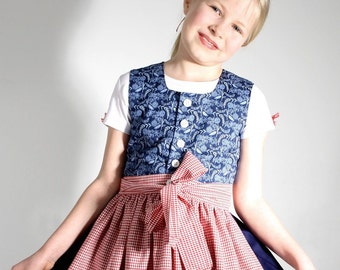 BIO-children Dirndl FRANZISKA organic cotton in blue and Red