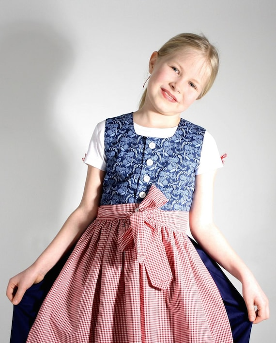 Dirndl FRANZISKA organic cotton in blue and Red