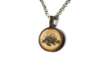 Nautical pendant Fish necklace Animal jewelry NWR200