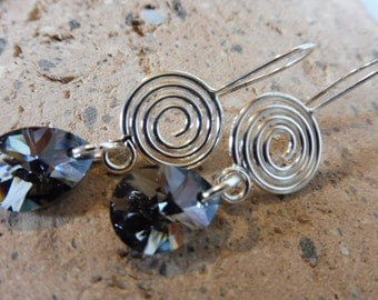 Swarovski Crystal Earrings, Dark Crystal Earrings, Long Crystal Earrings, Hypoallergenic Earrings, Crystal Jewelry, Gift Idea, For Her