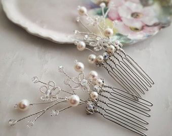 Pearl and crystal hair comb set, wedding hair piece, white and silver combs, hair comb pair, bridal hairpiece