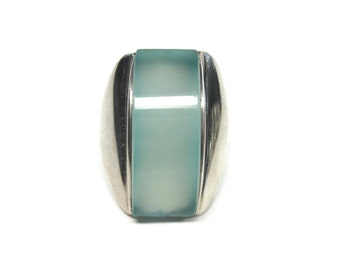 1990s Chalcedony Statement Ring Vintage Sterling Size 7