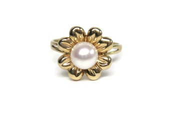 Vintage 14K Yellow Gold Single Natural Pearl Flower Ring Size 7.25