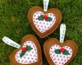 Gingerbread, Hearts, et of Three,  Holly, Christmas Tree Decorations, Christmas Decorations, Felt, Xmas, Tree Ornaments, Felt Decorations