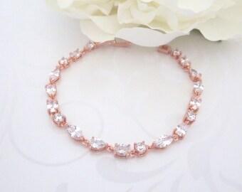 Rose gold tennis bracelet, Crystal Bridal bracelet, Wedding bracelet, Bridal jewelry, CZ bracelet, Dainty bracelet, Bridesmaid gift
