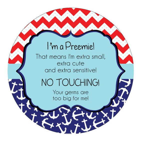 Preemie, newborn, baby car seat tag, baby shower gift, stroller tag, baby Preemie no touching car seat sign