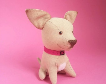 Chihuahua plush toy Stuffed dog Soft animal cute little Chihuahua puppy Baby dog toy Gift for man custom stuffed dog Plush dog Soft dog