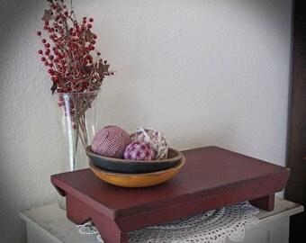 Primitive Distressed Farmhouse Table Riser 20L x 11-1/4W x 4-1/4H, Burgundy over Black