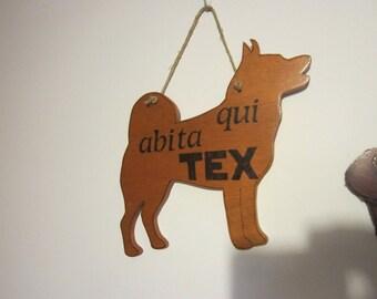 Dog tag, customizable, pirografata