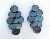 Blue Shell Earrings - Long Shell Earrings, Mussel Shell Earrings, Peacock Blue, Big Earrings, Beach Wedding Jewelry, Chandelier Earrings