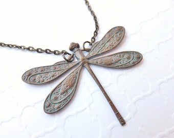 Big Dragonfly Necklace - Brass Dragonfly Necklace, Vintage Patina Blue Vergidris, Dragonfly Jewelry, Bohemian Jewelry, Dragonfly Pendant