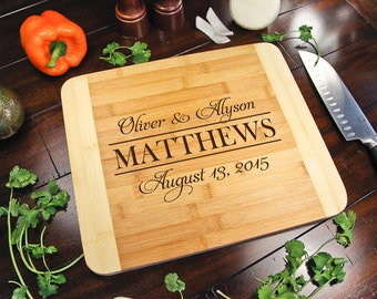 Personalized Cutting Board for couple ~ Wedding Engagement Anniversary Birthday Gift for her Gift for couple Christmas