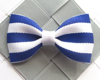 Royal Blue Striped Bow - 2.5 Inch Hair Bow ~ Hair Clip ~ Teen Hairbow ~ Simple Bow ~ Girl Hair Accessory ~ Basic Barrette ~ Toddler Hair Bow