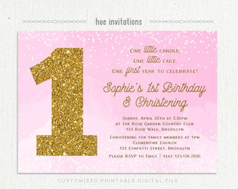 1st birthday christening invitation for baby girl, pink watercolor ombre gold glitter, girls baptism birthday invitation printable file