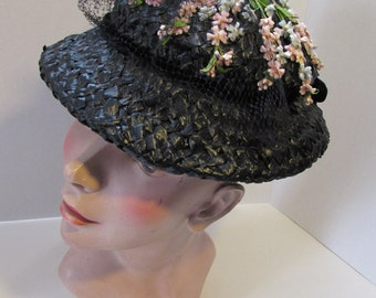 SALE! Mid Century Hat Spring Hat Black Hat CellophaneWeave Flower Sprigs Lilyan Models