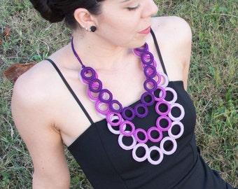 Fashion crochet necklace - Fiber necklace - modern crochet necklace cotton - cyclamen, purple, lilac color - rings very light