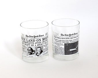Vintage Space New York Times Glasses Set of Two