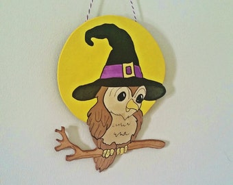 Cute Witchy Owl Hanging Wall Sign