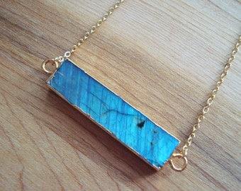 Blue Flash Labradorite Stone Bar Pendant Necklace 14K Gold Filled // Stone Bar Necklace // Boho Jewelry // Boho Luxe // Boho Necklace