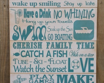 Custom Wood Lake Rules Subway Art - Cabin Rules, House Rules, Personalized Lake Sign - 16X24 Pallet Style - Great Christmas Gift