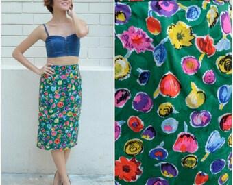 1960 Vintage Skirt/ Floral Wonderland Skirt/ Small Skirt/ Medium Skirt/ Japanese Vintage/ Floral Skirt/ Pencil Skirt/ Midi Skirt/Green Skirt