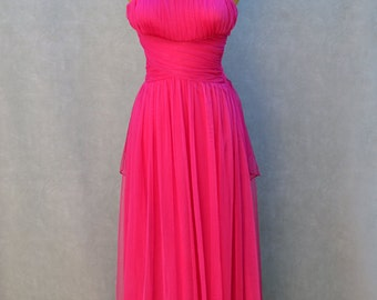 Magenta Evening Gown with Back Peplum Detail