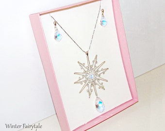 Winter Fairytale jewelry set: pendant and earrings, snowflake necklace, wedding jewelry with Swarovski crystals, wire art, winter jewelry