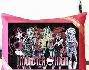 Monster High Decorative Pillow,  Girls room decoration, Draculaura, Frankie Stein, Clawdeen Wolf, Lagoona Blue, Operetta, Abbey Bominable