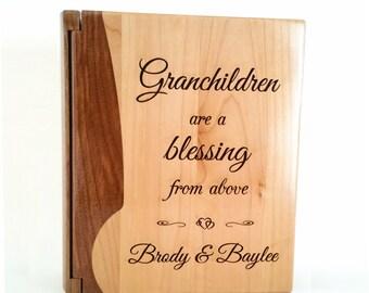 Personalized Photo Album, Custom Engraved Grandparents Album, Baby Album: Maple & Rosewood,