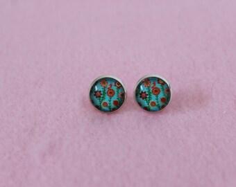 Flower Field 12mm Cabochon Stud Earrings