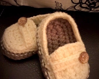 Cream and Brown Baby Loafers with Button