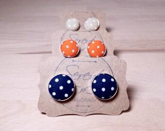 Polka dot cufflinks, blue polka dot cufflinks, orange polka dot cufflinks, beige polka dot cufflinks, fabric cufflinks, silver gold bronze