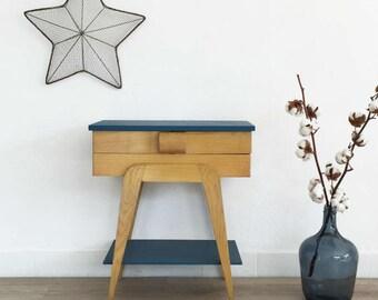 Sewing box, mid century modern, bedside table, vintage, wood, blue color, Fernand model
