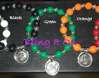 Silicone Bead Bracelet with Initial Charm - YOU CHOOSE