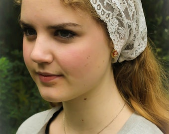 Evintage Veils~ So Soft Headwrap Ivory Chantilly Vintage-Inspired  Lace Headband Kerchief Tie-style Head Covering Church Veil