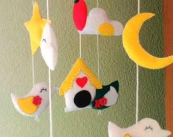 Baby Mobile, mobile handmade, Bird mobile crib , felt mobile. nursery mobile 10 items, 4 birds, 2 clouds, 1 stars, 1 house, 1 moon, 1 apple