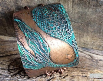 Mermaid Tail Copper Cuff Bracelet - Etched - Mermaid
