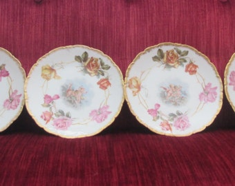 Set of Six C. Ahrenfeldt France Depose Cherub/Angel Dessert/Cabinet Plates with Roses/Gold Rims/Bailey Banks and Biddle  #16061
